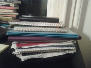 These are all of the notebooks I filled in a single semester at MIT. I expect to fill just as many per semester if I end up going back to complete my degree another year.